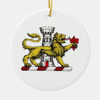 Lion Tower Fleur de Lis Crest Emblem C Ceramic Ornament