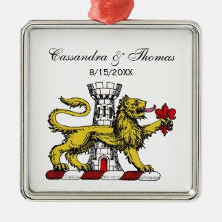 Lion Tower Fleur de Lis Crest Emblem C Metal Ornament