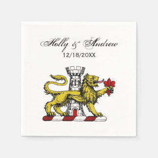 Lion Tower Fleur de Lis Crest Emblem C Paper Napkin