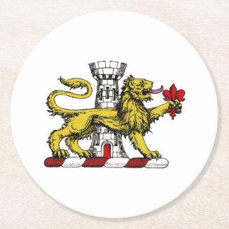 Lion Tower Fleur de Lis Crest Emblem C Round Paper Coaster