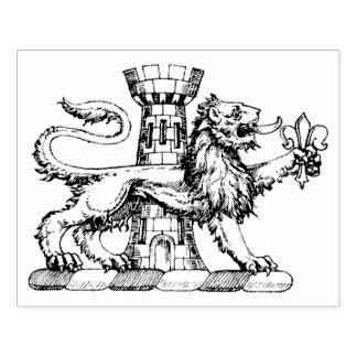 Lion Tower Fleur de Lis Crest Emblem C Rubber Stamp