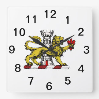 Lion Tower Fleur de Lis Crest Emblem C Square Wall Clock