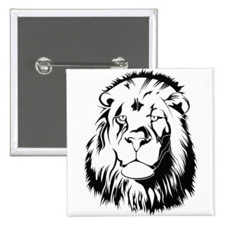 Lion Tribal 002 2 Inch Square Button