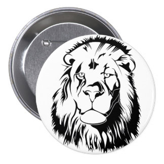 Lion Tribal 002 3 Inch Round Button