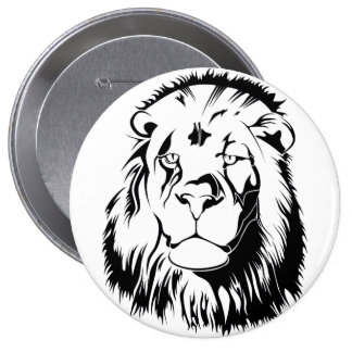 Lion Tribal 002 4 Inch Round Button