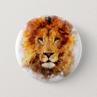 Lion Watercolor 2 Inch Round Button