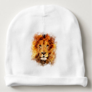 Lion Watercolor Baby Beanie
