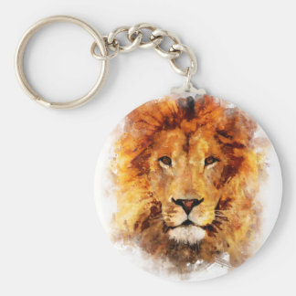 Lion Watercolor Basic Round Button Keychain