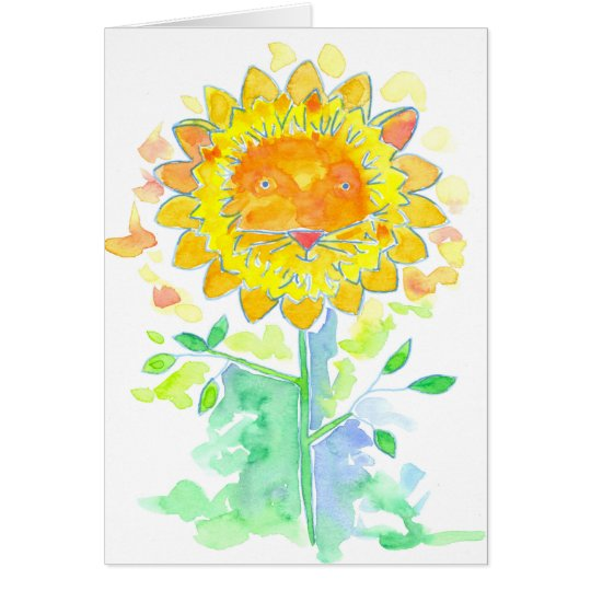 Lion Watercolor Flower Happy Birthday Card