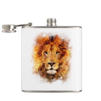 Lion Watercolor Hip Flask