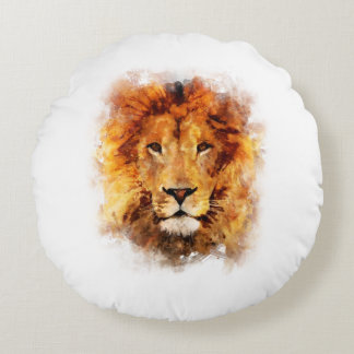 Lion Watercolor Round Pillow