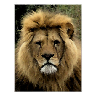 Lion Watercolour Portrait - Canvas Poster