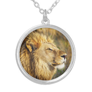 Lion Wild Animal Wildlife Safari Silver Plated Necklace
