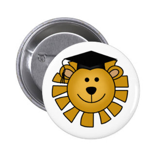 Lion with Graduation Cap Tshirts and Gifts 2 Inch Round Button