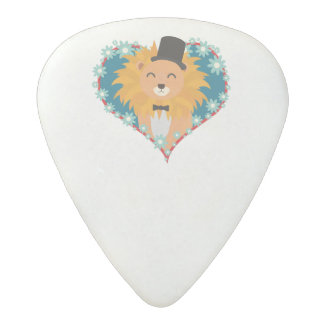 Lion with hat in flower heart Zdjpd Acetal Guitar Pick