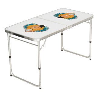 Lion with hat in flower heart Zdjpd Beer Pong Table