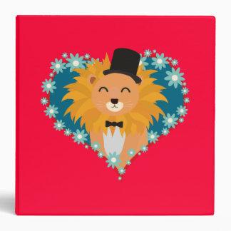 Lion with hat in flower heart Zdjpd Binder