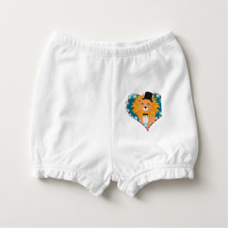 Lion with hat in flower heart Zdjpd Diaper Cover