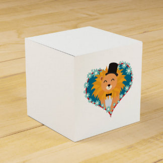 Lion with hat in flower heart Zdjpd Favor Box