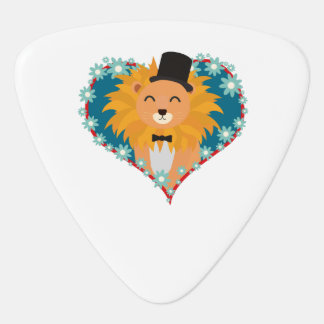 Lion with hat in flower heart Zdjpd Guitar Pick