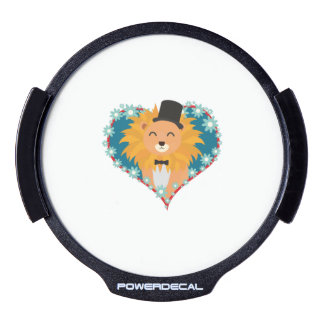Lion with hat in flower heart Zdjpd LED Window Decal