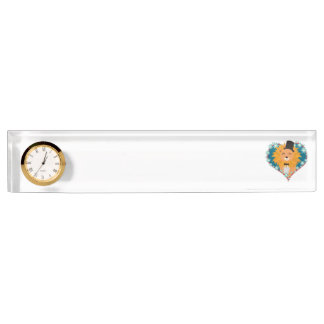 Lion with hat in flower heart Zdjpd Nameplate