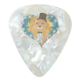 Lion with hat in flower heart Zdjpd Pearl Celluloid Guitar Pick