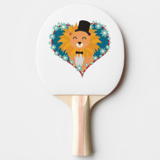 Lion with hat in flower heart Zdjpd Ping Pong Paddle