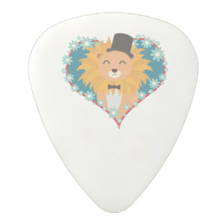 Lion with hat in flower heart Zdjpd Polycarbonate Guitar Pick