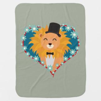 Lion with hat in flower heart Zdjpd Receiving Blankets