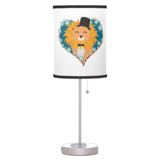 Lion with hat in flower heart Zdjpd Table Lamp