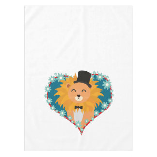 Lion with hat in flower heart Zdjpd Tablecloth