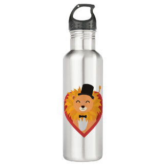Lion with Hat in heart Zjrz1 710 Ml Water Bottle
