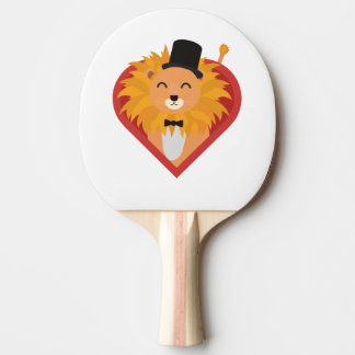 Lion with Hat in heart Zjrz1 Ping Pong Paddle