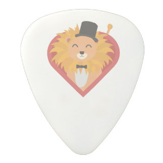 Lion with Hat in heart Zjrz1 Polycarbonate Guitar Pick