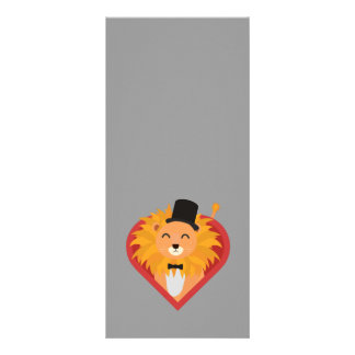 Lion with Hat in heart Zjrz1 Rack Card