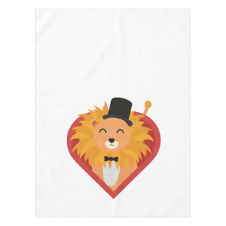 Lion with Hat in heart Zjrz1 Tablecloth