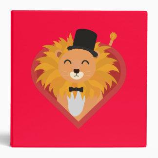 Lion with Hat in heart Zjrz1 Vinyl Binder