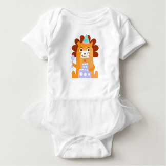 Lion With Party Attributes Girly Stylized Funky Baby Bodysuit
