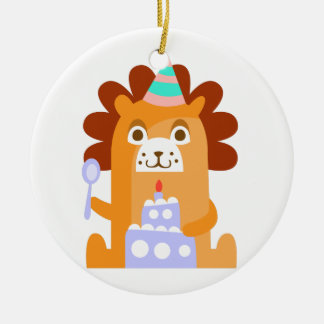 Lion With Party Attributes Girly Stylized Funky Ceramic Ornament