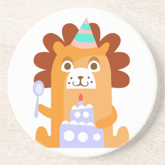 Lion With Party Attributes Girly Stylized Funky Coaster