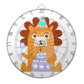 Lion With Party Attributes Girly Stylized Funky Dartboard