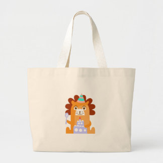 Lion With Party Attributes Girly Stylized Funky Large Tote Bag