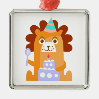 Lion With Party Attributes Girly Stylized Funky Metal Ornament