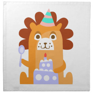 Lion With Party Attributes Girly Stylized Funky Napkin