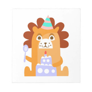 Lion With Party Attributes Girly Stylized Funky Notepad