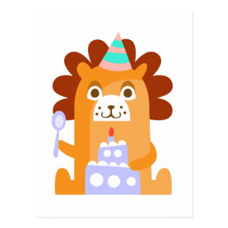 Lion With Party Attributes Girly Stylized Funky Postcard
