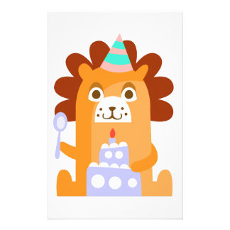 Lion With Party Attributes Girly Stylized Funky Stationery
