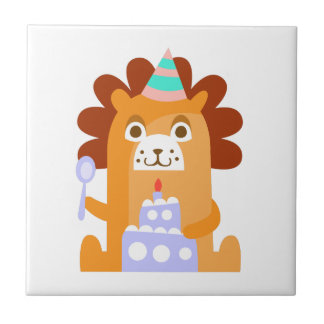 Lion With Party Attributes Girly Stylized Funky Tile