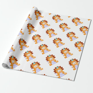 Lion With Party Attributes Girly Stylized Funky Wrapping Paper
